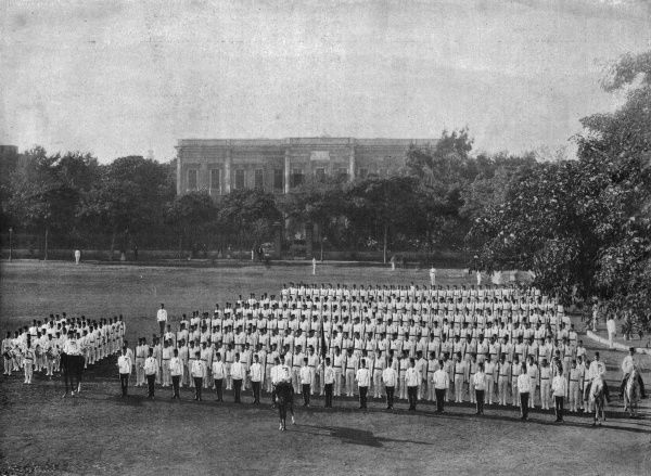 An infantry battalion from the Egyptian army on parade. Date: 1896