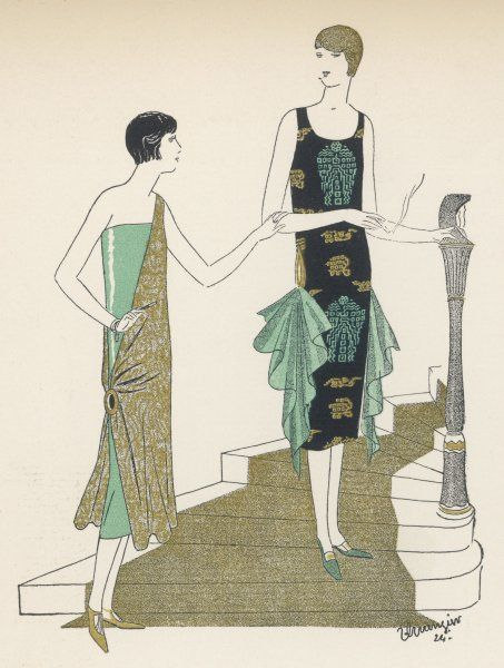 Egyptian influence. Green tube dress with gold fabric draped diagonally from one shoulder & fastened at the hip; black print dress with handkerchief drapery at the hips