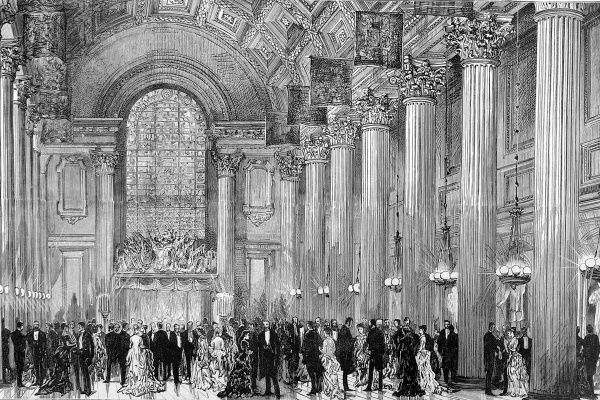 Engraving showing the interior of the Egyptian Hall, Mansion House, with a formal event underway, 1884