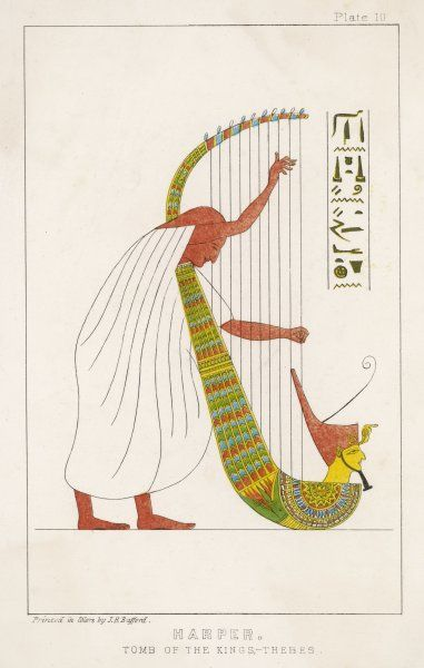 An Ancient Egyptian priest plays an ornamented harp