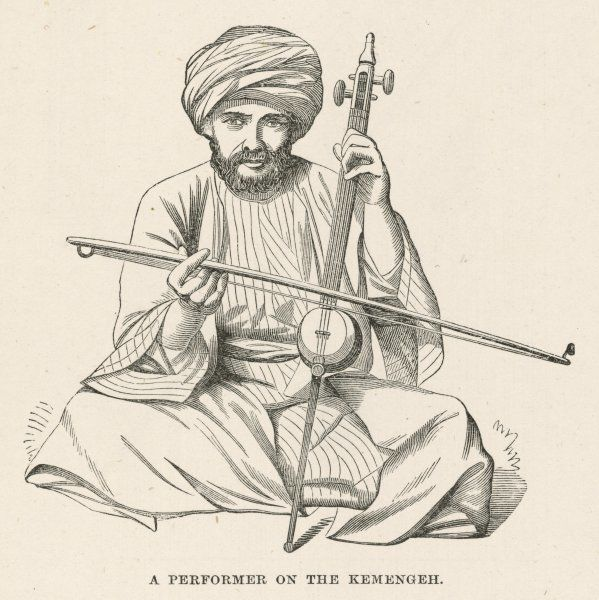 An Egyptian musician performs on the kemengeh