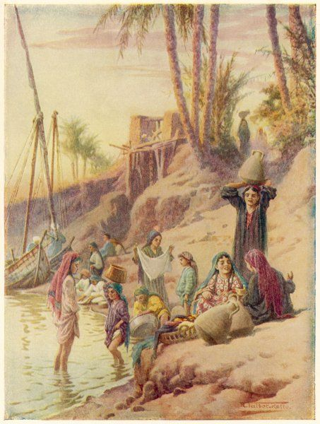 Mothers and children on the banks of the Nile