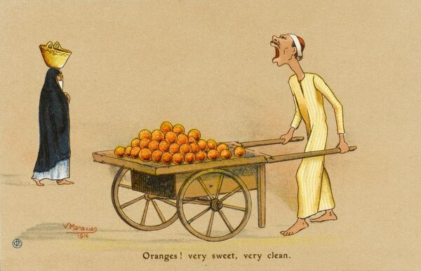 Egyptian Orange Seller with hand cart shouts out the nature of his wares to everyone within earshot