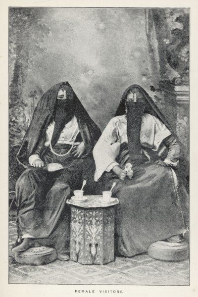 Two women pay a visit to a friend : they have to raise their veils to drink, of course, but have learnt to do so without revealing more than a minimum