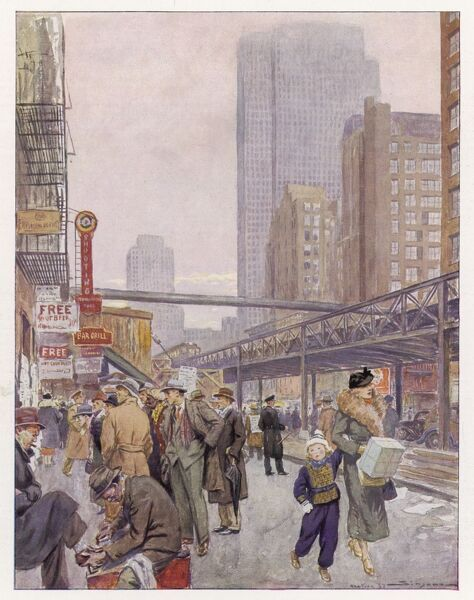 New York: Sixth Avenue and the Elevated, with shoppers in the street