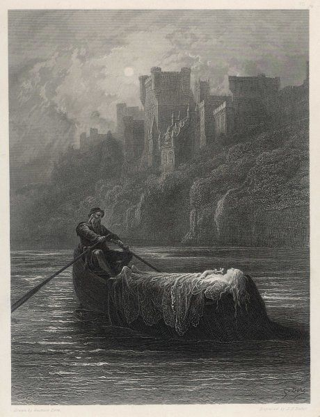 CAMELOT the body of Elaine, the Maid of Astolat, is rowed to Arthur's castle