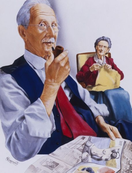 An elderly pipe smoking gent raises an eybrow as he reveals it is not the daily newspaper which is grasping his attention! His wife continues knitting on the other side of the room - happily oblivious to it all!
