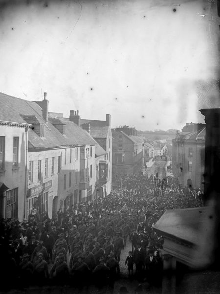 Crowds of people at election time in the High Street in Haverfordwest, Pembrokeshire, Dyfed, South Wales. Two general elections took place in 1910, in January and December