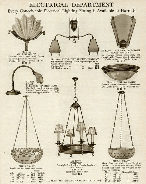Electric Ceiling Amp Wall Lights Using Oyster Shell 1929 14296444 Framed Print