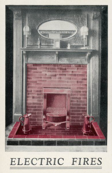 The 'Raymond' electric fire depicted in a traditional fireplace. It costs L3 10s and is fitted with a handle so it can be carried from one room to another