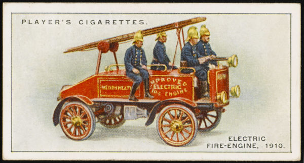 Merryweathers' electrically propelled fire-engine, which enabled 12 men to travel on the vehicle
