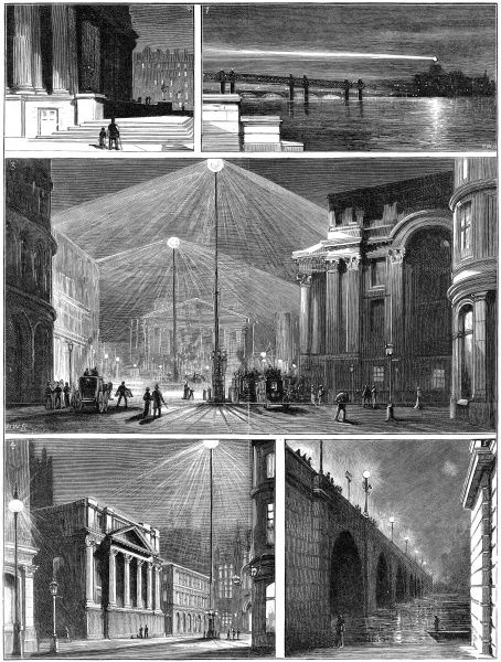 Engravings from the Graphic showing the effect of electric street lighting on different parts of London