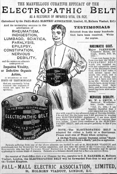 Advertisement from 1885 for the Pall Mall Electric Association's Electropathic Belt