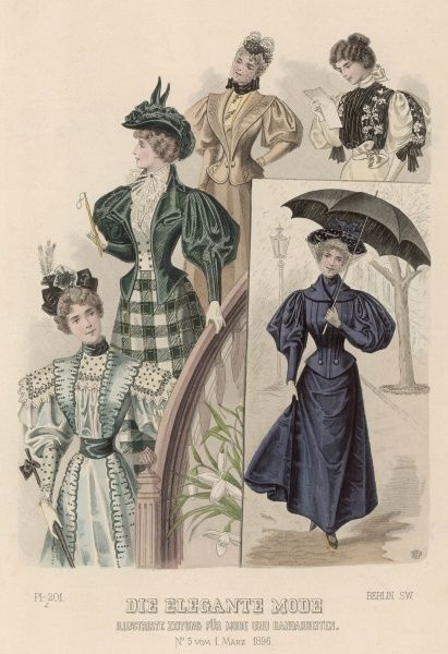 Elegantly dressed women descend a staircase wearing jackets and gowns with leg-of- mutton sleeves; another woman holds an umbrella against the rain