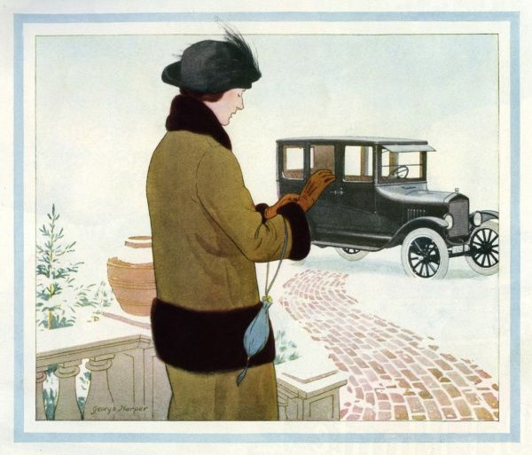 Elegant lady and her car 1924 by George Harper. George Harper (1863-1943), was an English author and illustrator 1924