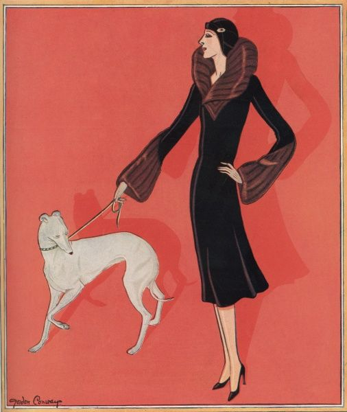 A fashion illustration of a glamorous fur trimmed coat, ideal for keeping stylish whilst dog walking
