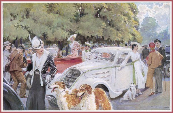 A contest of elegance. Well dressed ladies and gentlemen with their smart dogs and smarter cars