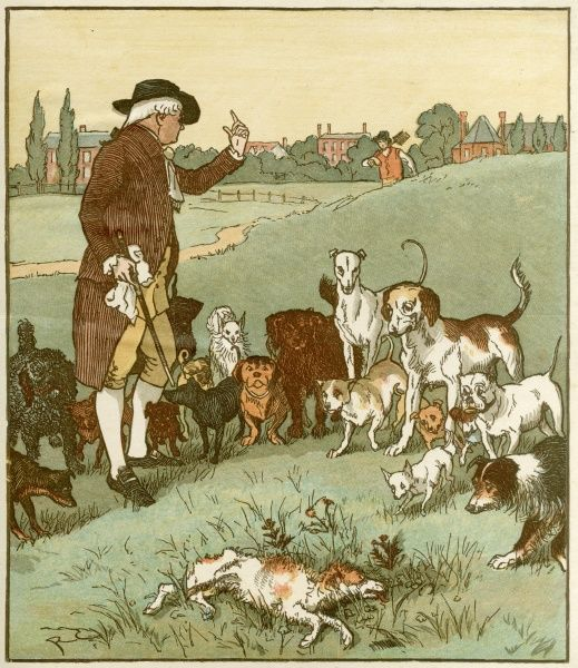 """The man recovered of the bite; The dog it was that died.""  Published: late 19th century"