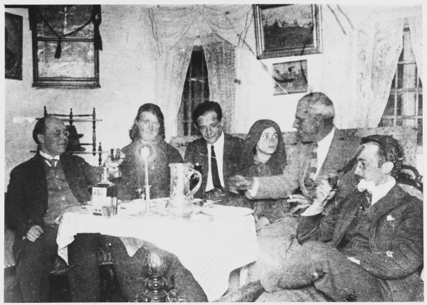 Romanian peasant girl who manifested strange stigmata, with some early investigators : Fritz Grunewald is on the left. She is third from right