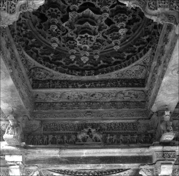Temple ceiling with carvings of elephants, India