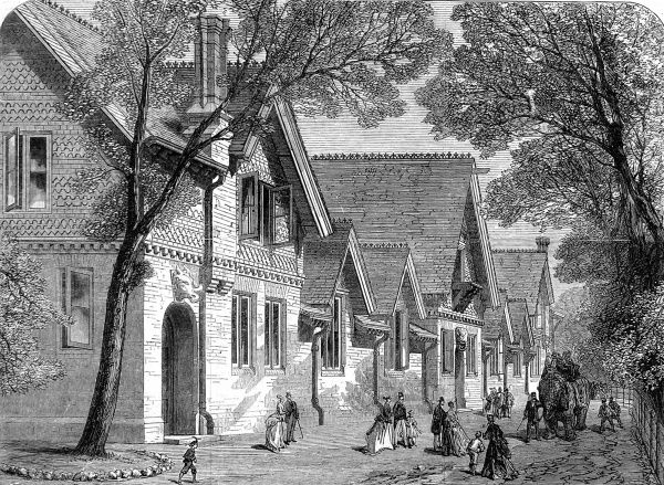 Engraving showing the newly built elephant house at the Zoological Society's Gardens (London Zoo), Regent's Park, 1869