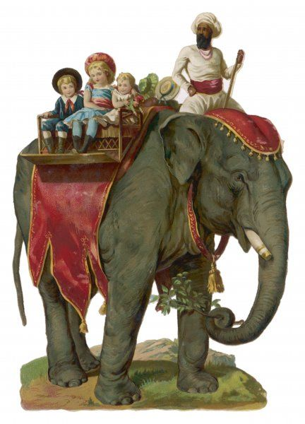Some children take a ride on an elephant