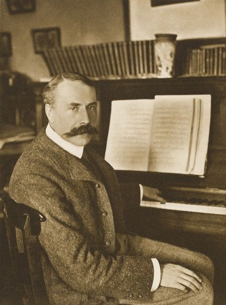 EDWARD ELGAR Composer at the piano, c1911. Leaders of the Empire, Vol I, photograph by George Newnes