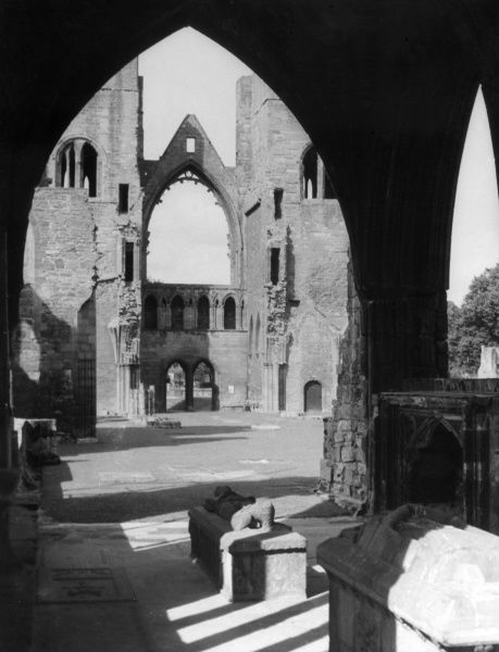 The Cloisters, Elgin Cathedral, Morayshire, Scotland. The existing ruins were built after a fire in 1270, but destroyed by Cromwell's 'Bishop's War'. Date: 13th century