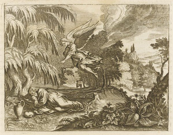 The prophet Elijah flees the anger of Jezebel, queen of Ahab king of Israel : he would starve did not a kindly angel bring him cake and water under a juniper tree