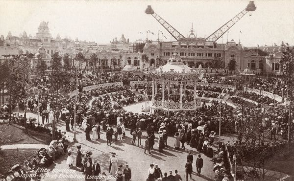 View of the Elite Gardens at the Japan British Exhibition, held at White City, West London. Date: 1910