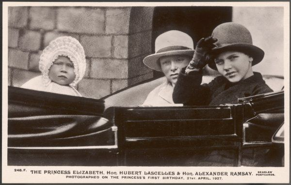 ELIZABETH II with her cousins Hubert Lascelles and Alexander Ramsay on her first birthday, 21 April 1927