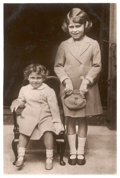 ELIZABETH II with her sister Margaret Rose in 1933 - the chair and the handbag were made by disabled soldiers