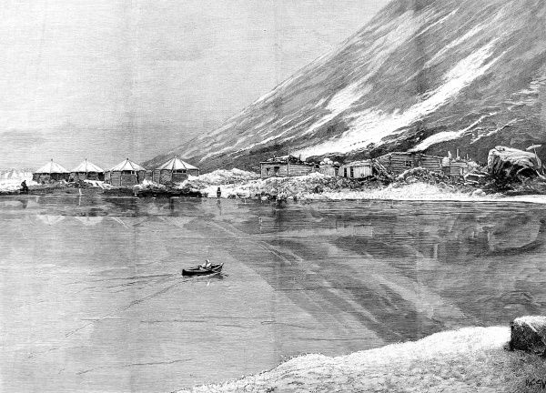 Illustration of 'Elmwood', the base of the Jackson-Harmsworth Polar Expedition on Franz Josef Land, 1895