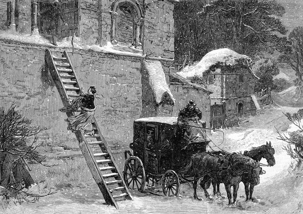 Engraving showing a young woman escaping a house by step ladder in order to elope, during a snowstorm