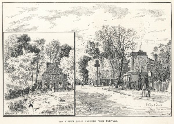Engraving showing two views of West Norwood, London, an area familiar with the Eltham House Harriers athletic or running club, 1887. The image at left shows the Lodge at the top of the fields, whilst the other image shows the Rose and Crown