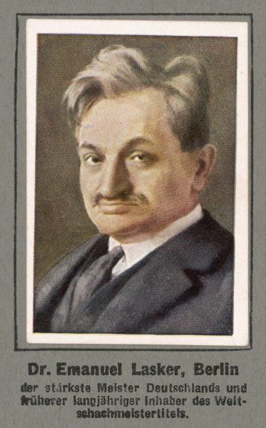 EMANUEL LASKER German mathematician, philosopher & chess master, defeated Steinitz in 1894 and retained title till defeated by Capablanca in 1921