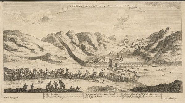 The first British embassy to China, headed by George, earl Macartney, enters China via the Great Wall at Chogon Koton