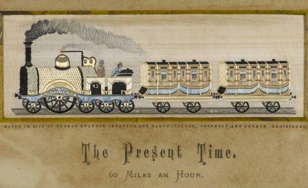 'The Present Time' A train with two carriages, capable of speeds of 60 miles per hour