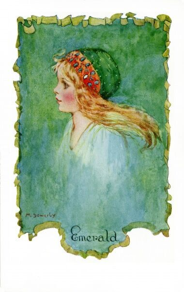 Emerald by Millicent Sowerby. From the Little Jewels series of postcards illustrated by Amy Millicent Sowerby (1878-1967). Date: circa 1916