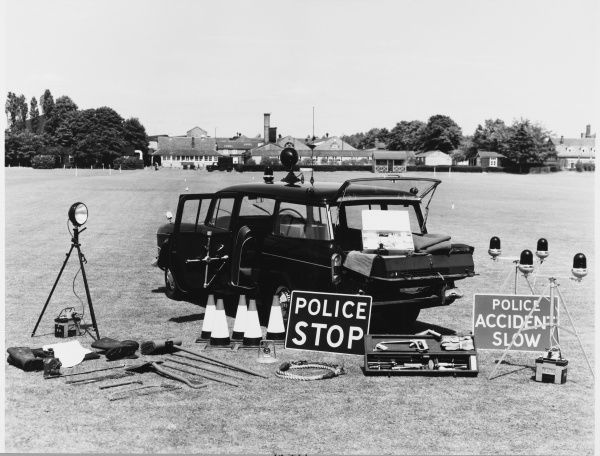 Metropolitan Police road accident emergency equipment kept in a police car, on display