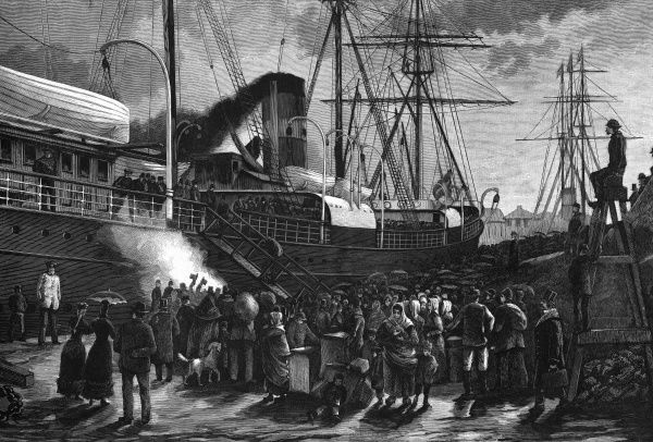 Danish emigrants board a steamship in the harbour, Copenhagen, for travel to America. Date: 1888