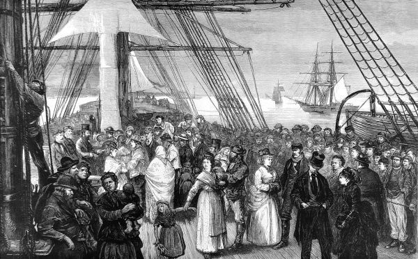 Engraving showing the deck of an emigrant ship, bound for America, off the coast of Kent, 1875