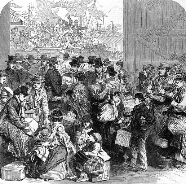Engraving showing emigrants on the dockside at Victoria Docks, London, about to board the ship 'Ganges' to sail for Canada, 1870