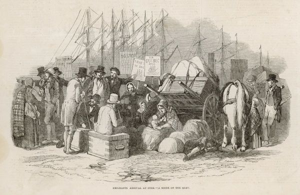 On the quay at Cork, emigrants wait to sail to the Americas