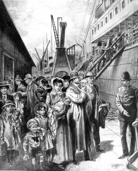 Illustration showing emigrants about to board the New Zealand liner 'Paparoa' to make passage to Queensland, Australia, 1911