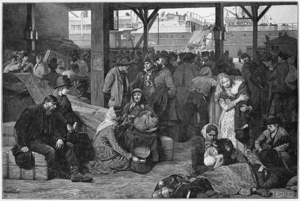 Emigrants waiting at Le Havre, France, to board a steamship for America