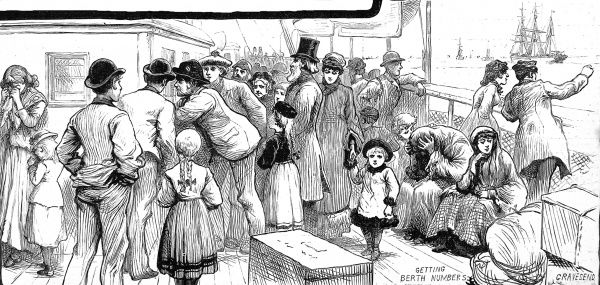 Engraving showing emigrant passengers being allocated berth numbers at the beginning of a voyage to Australia, 1887. In the background of the image, there are women still weeping at their parting from loved ones