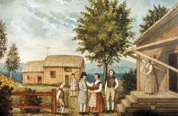 A young man, emigrating to America from Sweden says goodbye to his parents. Watercolour. Anonymus. Date: 19th century