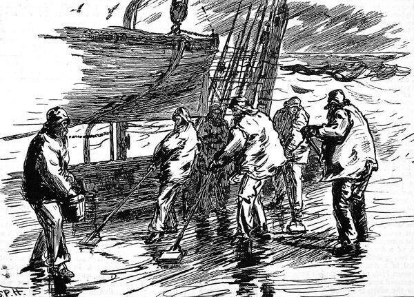 Engraving of the crew on deck in heavy rain scrubbing the decks with brushes