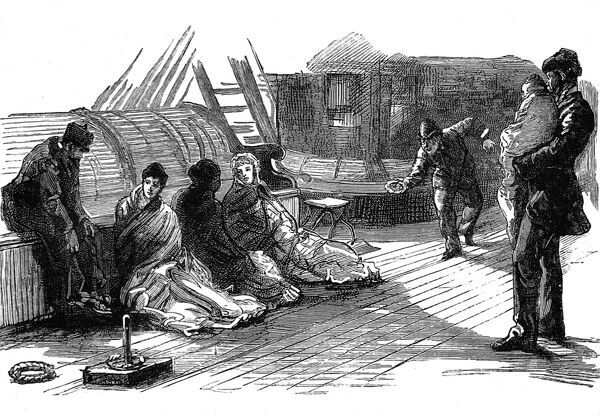 Engraving of a group of passengers playing deck quoits as they return to England from America